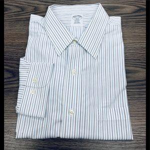 Brooks Brothers White w/ Blue Stripe Shirt 17.5